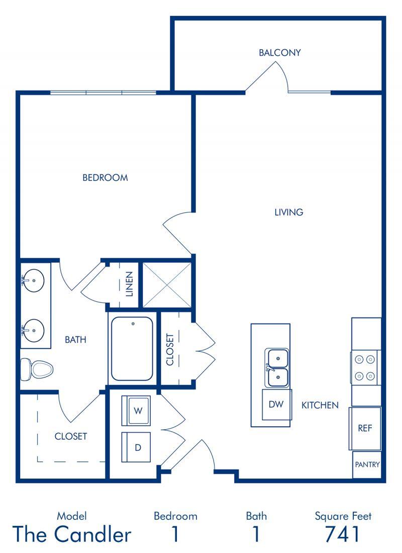 Blueprint of Candler Floor Plan, 1 Bedroom and 1 Bathroom at Camden Buckhead Square Apartments in Atlanta, GA