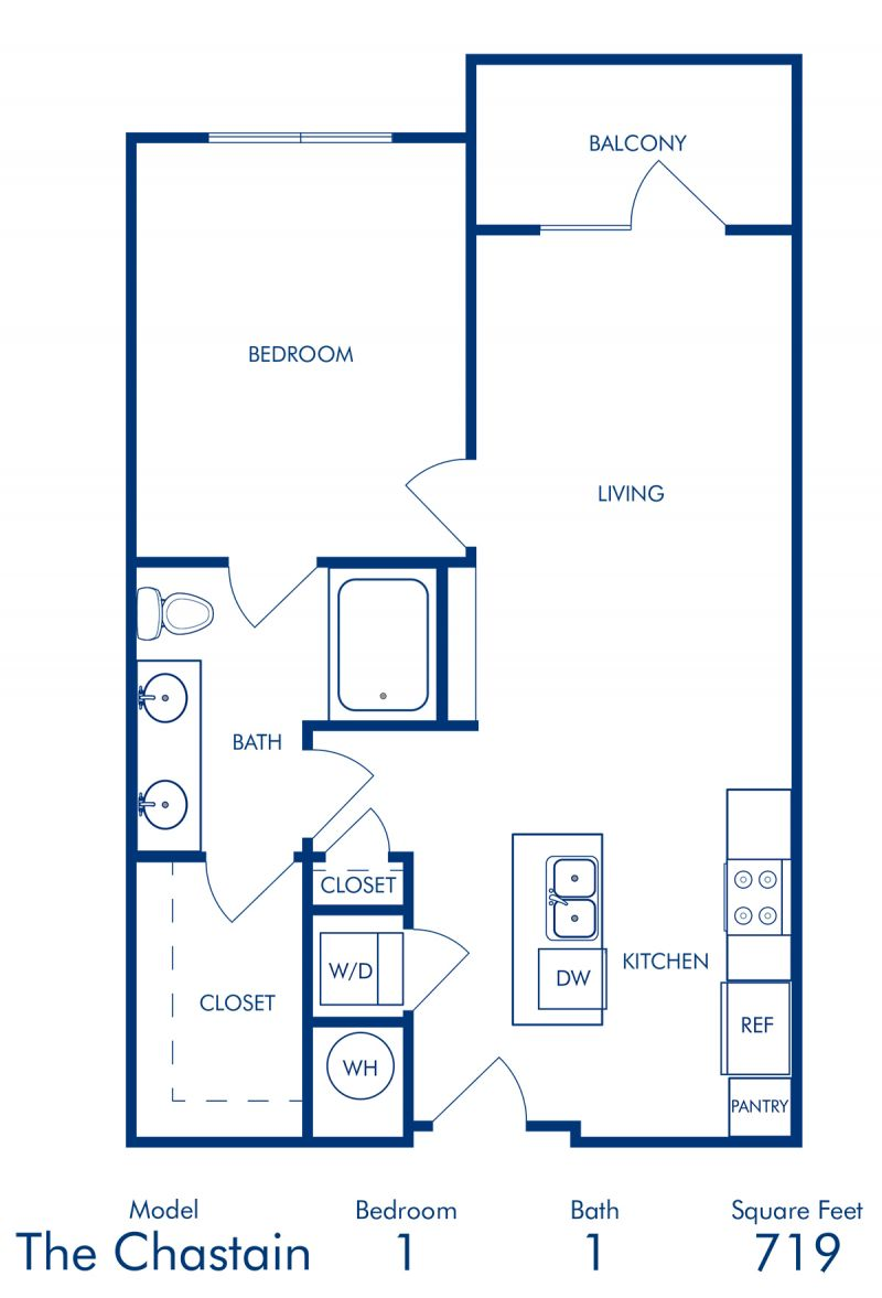 Blueprint of Chastain Floor Plan, 1 Bedroom and 1 Bathroom at Camden Buckhead Square Apartments in Atlanta, GA