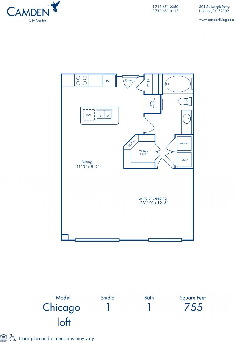 Studio 1 2 bedroom apartments in houston tx camden city centre blueprint of chicago floor plan studio with 1 bathroom at camden city centre apartments in malvernweather Gallery