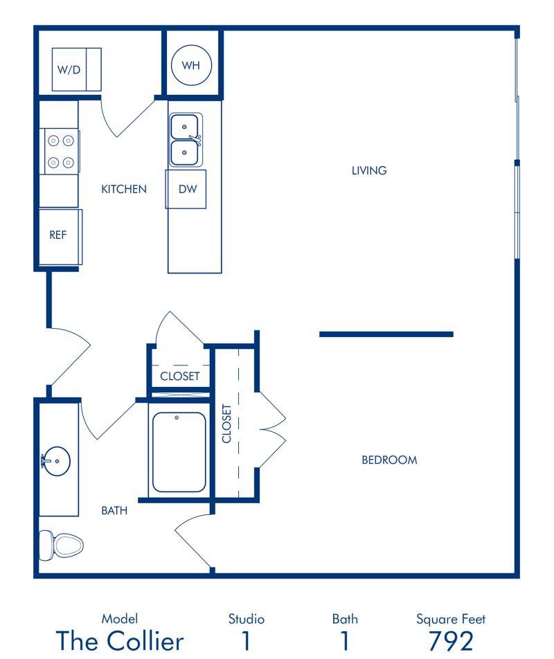 Blueprint of Collier Floor Plan, Studio with 1 Bathroom at Camden Buckhead Square Apartments in Atlanta, GA