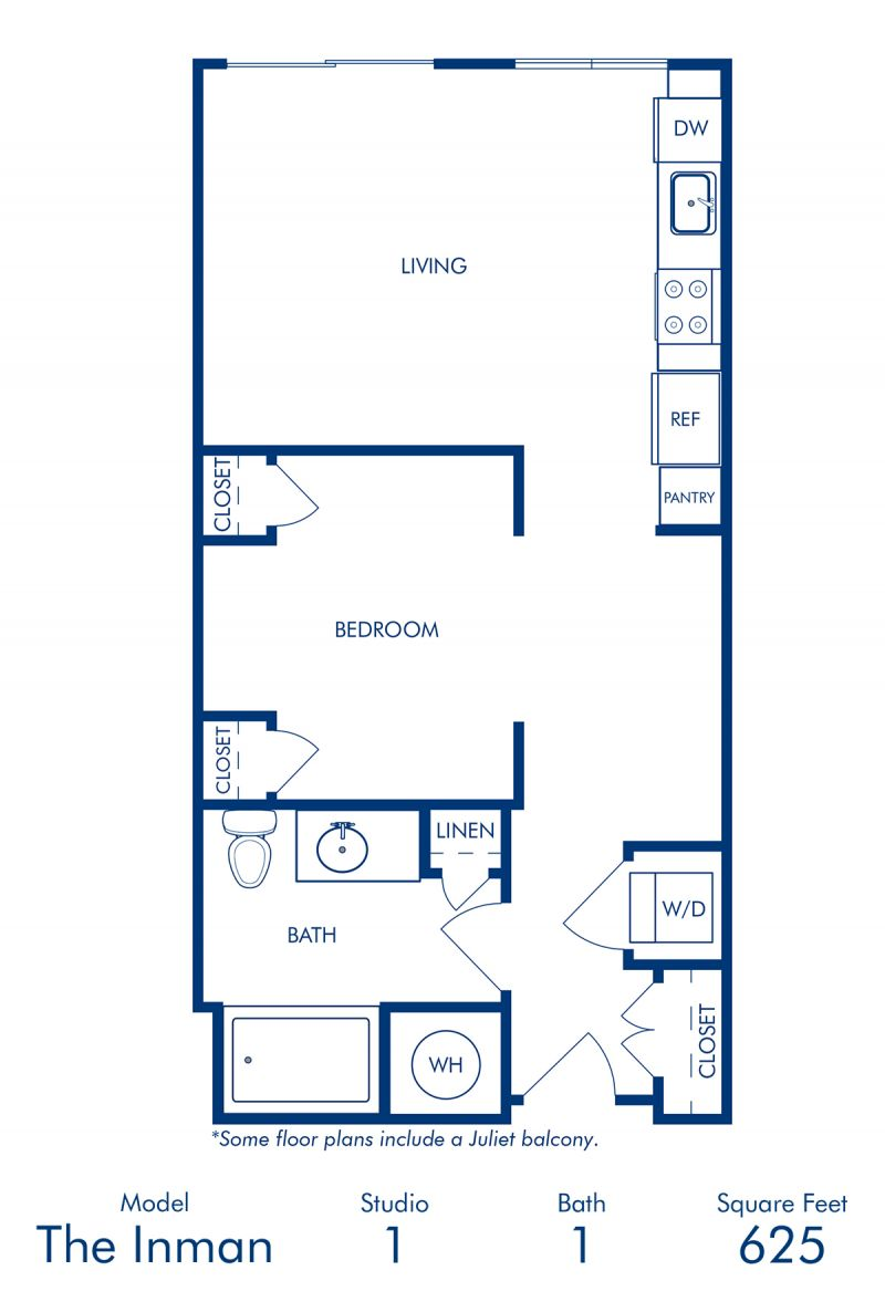 Blueprint of Inman II Floor Plan, Studio with 1 Bathroom at Camden Buckhead Square Apartments in Atlanta, GA
