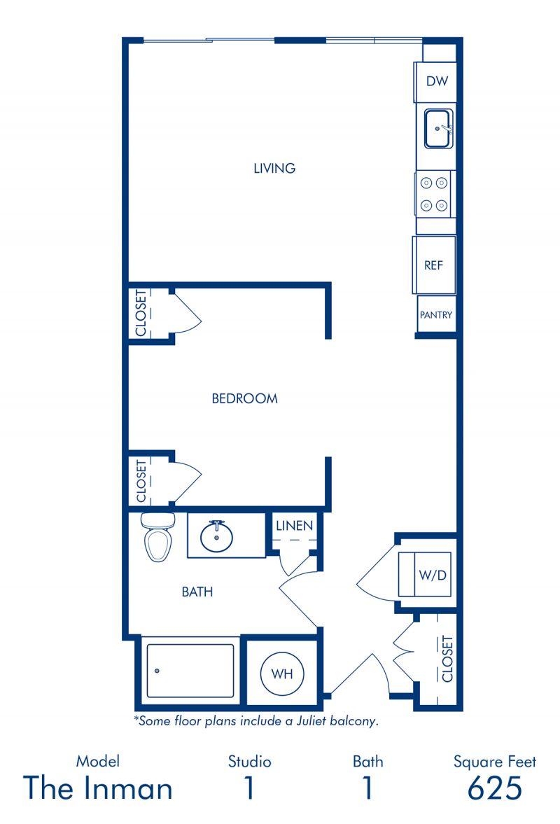 Blueprint of Inman Floor Plan, Studio with 1 Bathroom at Camden Buckhead Square Apartments in Atlanta, GA