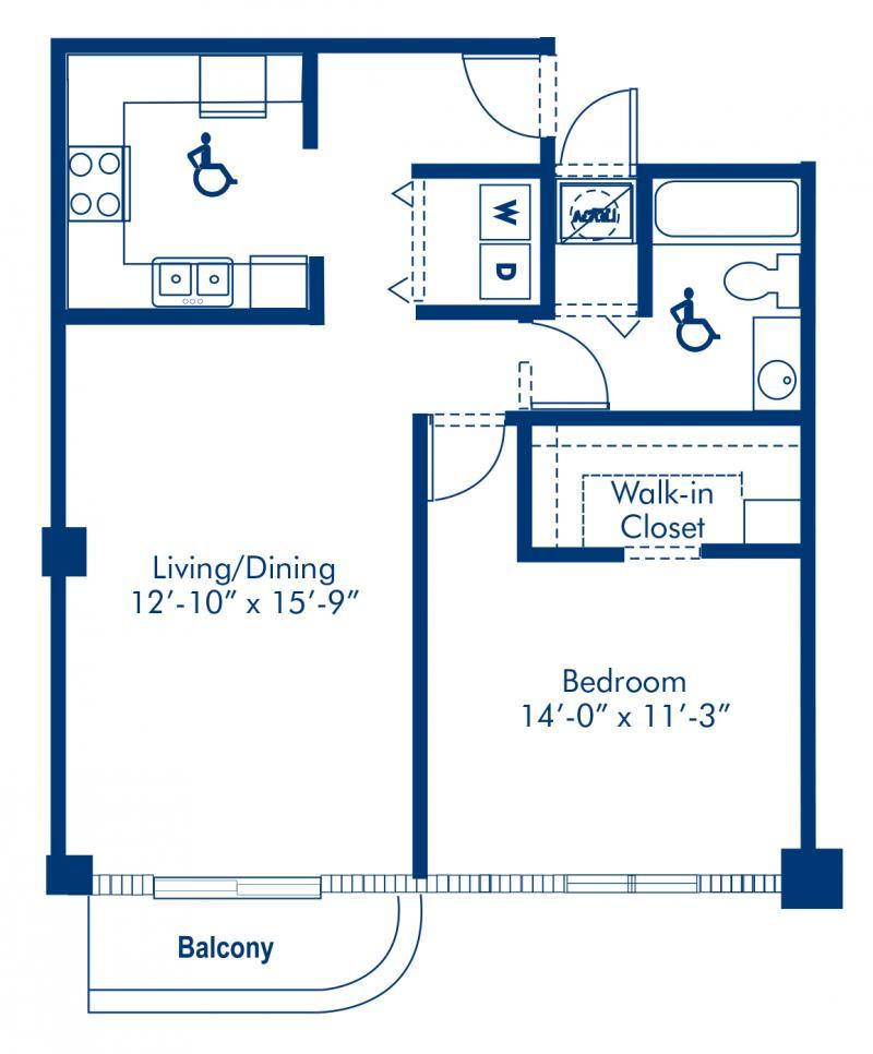 Blueprint of Madison 2 Floor Plan, 1 Bedroom and 1 Bathroom at Camden Brickell Apartments in Miami, FL