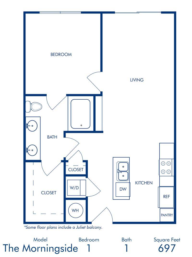 Blueprint of Morningside II Floor Plan, 1 Bedroom and 1 Bathroom at Camden Buckhead Square Apartments in Atlanta, GA