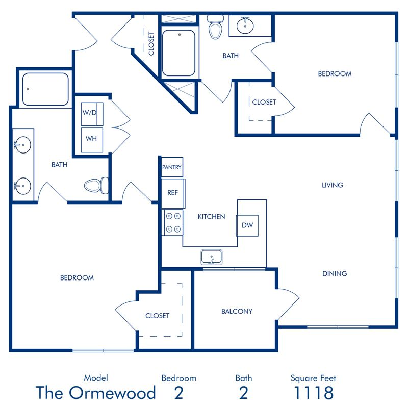 Blueprint of Ormewood Floor Plan, 2 Bedrooms and 2 Bathrooms at Camden Buckhead Square Apartments in Atlanta, GA