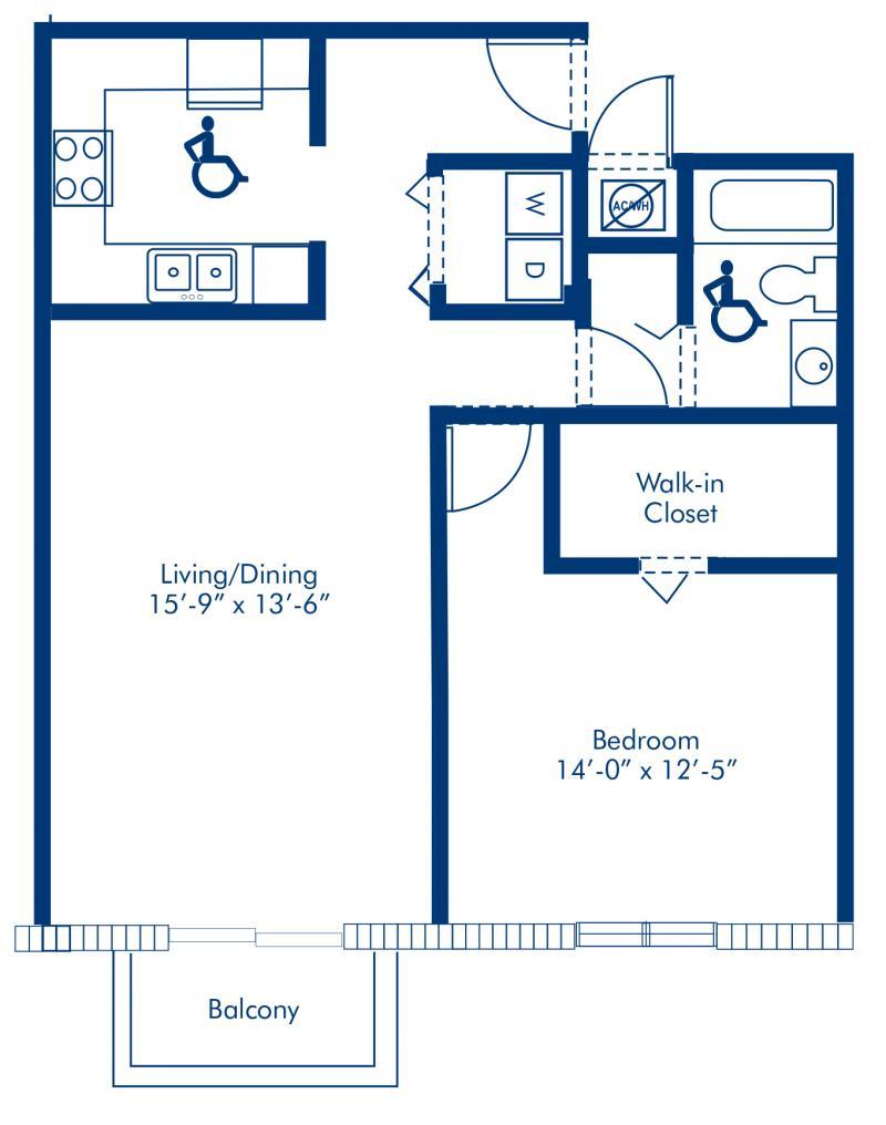Blueprint of Renaissance Floor Plan, 1 Bedroom and 1 Bathroom at Camden Brickell Apartments in Miami, FL