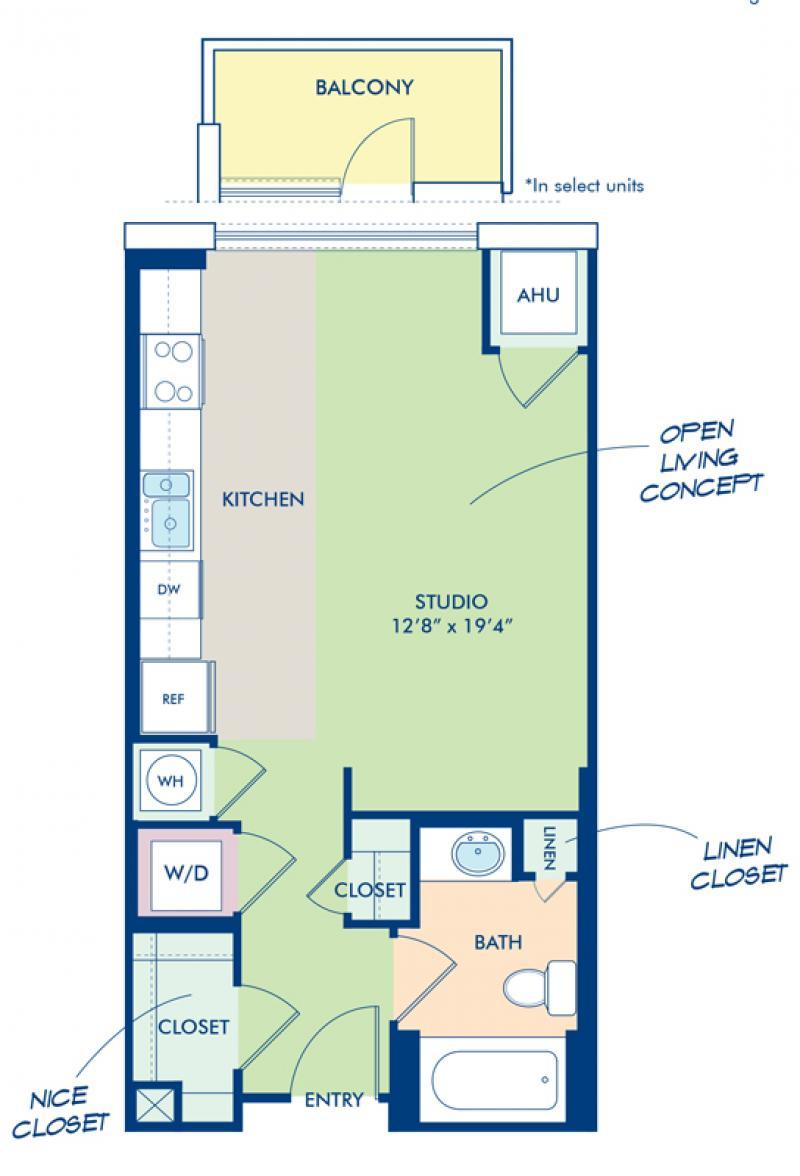 Blueprint Of S4 Floor Plan, Studio With 1 Bathroom At Camden NoMa Apartments  In Washington