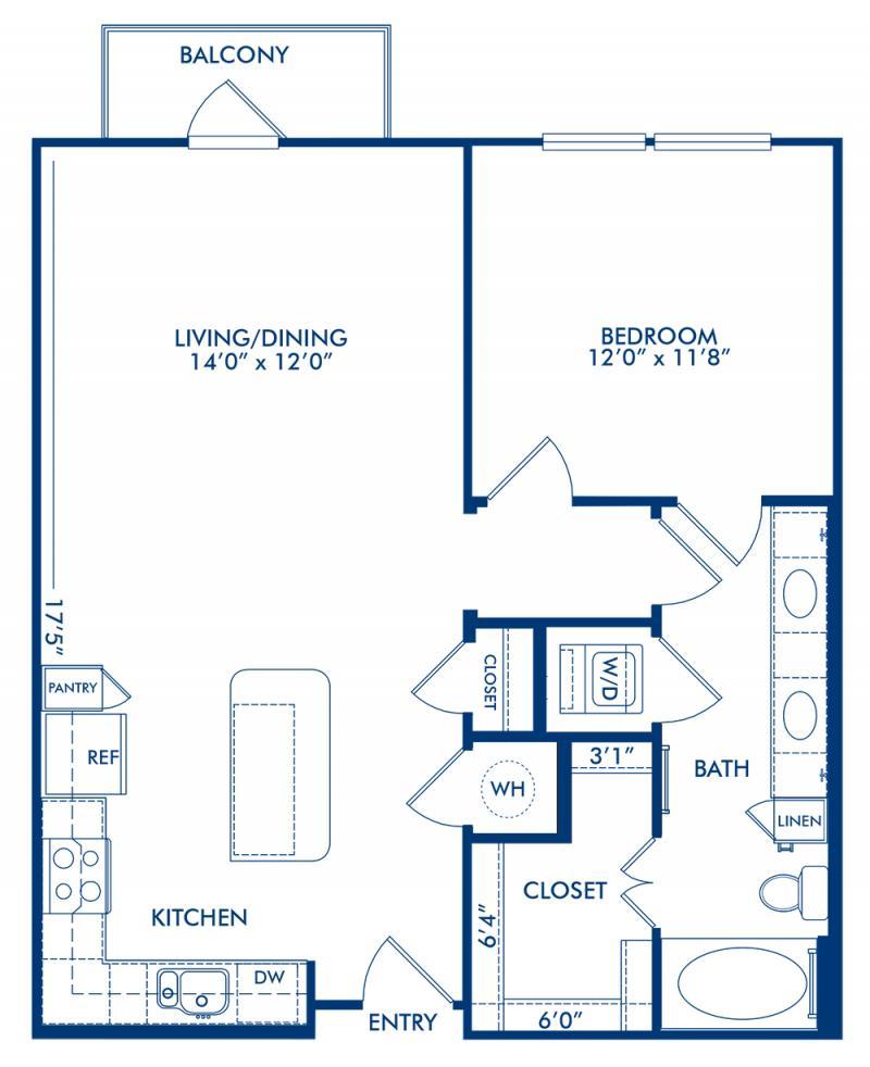1 2 3 bedroom apartments in dallas tx camden belmont blueprint of stanton 1 floor plan 1 bedroom and 1 bathroom at camden belmont apartments malvernweather Gallery