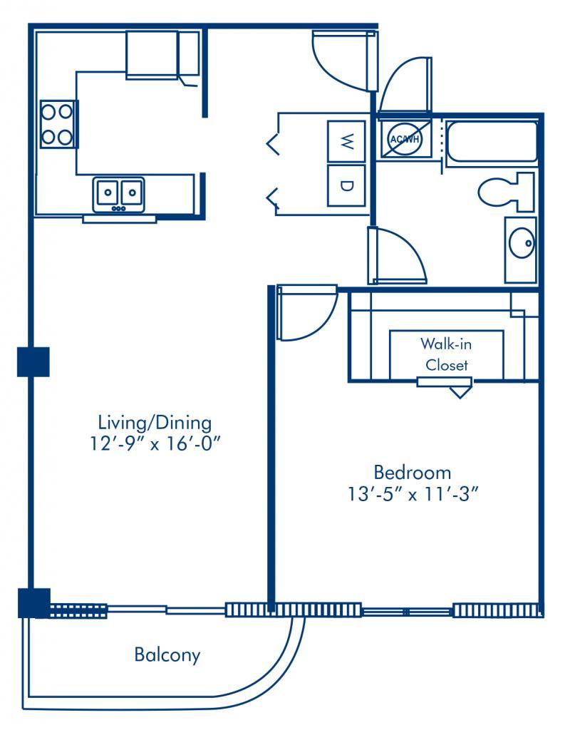 Blueprint of Symphony 2 Floor Plan, 1 Bedroom and 1 Bathroom at Camden Brickell Apartments in Miami, FL