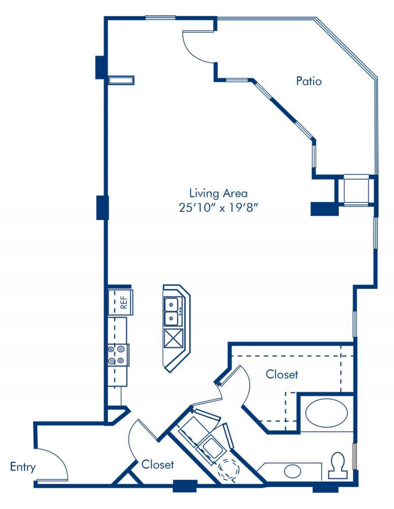 Studio 1 2 3 bedroom apartments in charlotte nc camden blueprint of the uptown floor plan studio with 1 bathroom at camden grandview apartments in malvernweather Choice Image