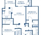 Blueprint of Reef (Balcony) Floor Plan, 2 Bedrooms and 2 Bathrooms at Camden Bay Apartments in Tampa, FL