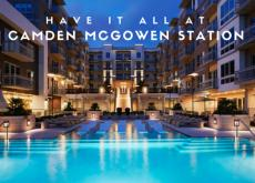 Camden McGowen Station Apartments Sunset Pool View with Blog Title in Midtown Houston, TX