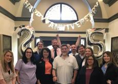 Camden Family with Big Jim for his 25 Year Resident Anniversary Party at Camden Cimarron Apartments in Dallas, TX
