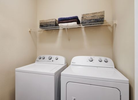 Washer and dryer at Camden Addison Apartments in Addison, TX
