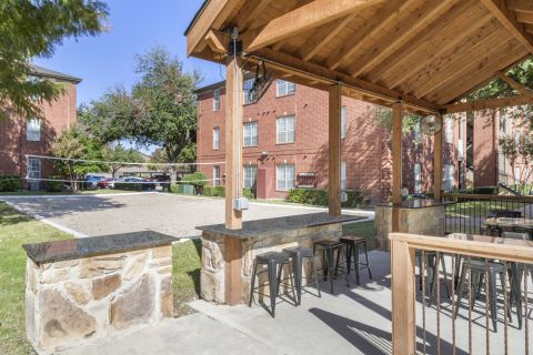 Volleyball Court and Cabana at Camden Addison Apartments in Addison, TX