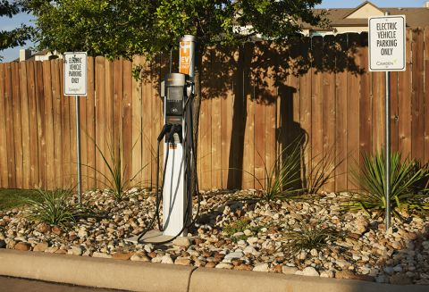 Electric Car Charging Station at Camden Amber Oaks Apartments in Austin, TX