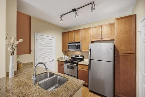Kitchen with Traditional Stove Top at Camden Amber Oaks Apartments in Austin, TX