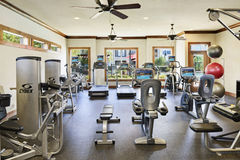 Fitness Center at Camden Amber Oaks Apartments in Austin, TX