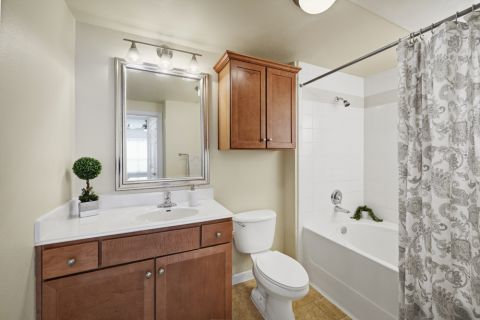 Bathroom with Option 1 Finishes at Camden Amber Oaks Apartments in Austin, TX