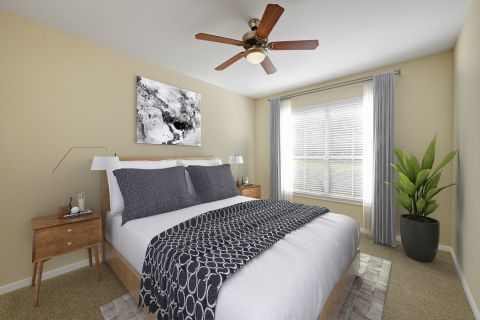 Bedroom with Option 1 Finishes at Camden Amber Oaks Apartments in Austin, TX
