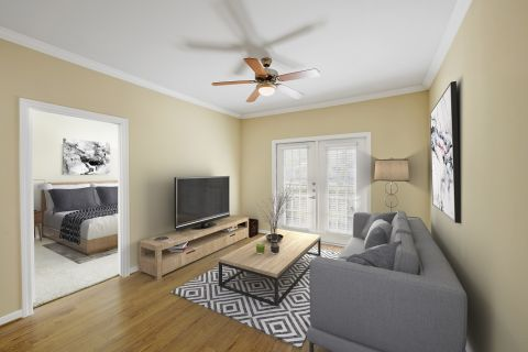 Living Room with Option 1 Finishes at Camden Amber Oaks Apartments in Austin, TX