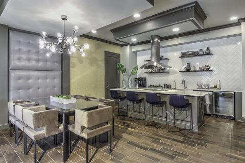 Resident Lounge with Entertaining Kitchen Camden Asbury Village Apartments in Raleigh, NC