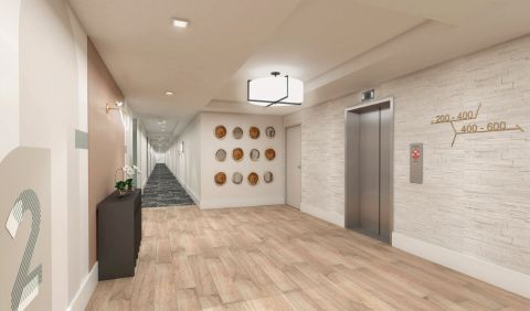 Elevator Landing Resident Hall at Camden Atlantic Apartments in Plantation, FL