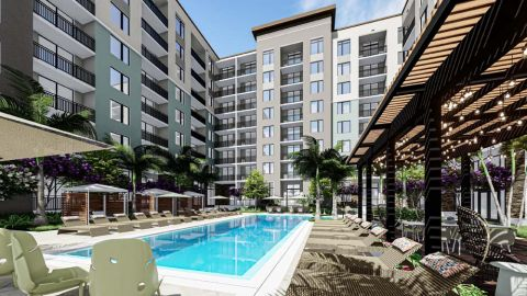 Swimming Pool with Sundeck and Cabanas at Camden Atlantic Apartments in Plantation, FL