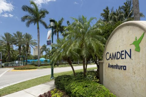 Entrance to Community at Camden Aventura Apartments in Aventura, FL