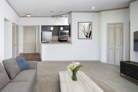 Kitchen and Living Room at Camden Aventura Apartments in Aventura, FL