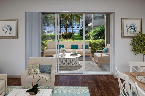 Patio at Camden Aventura Apartments in Aventura, FL