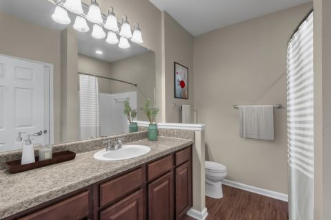 Bathroom at Camden Ballantyne Apartments in Charlotte, NC