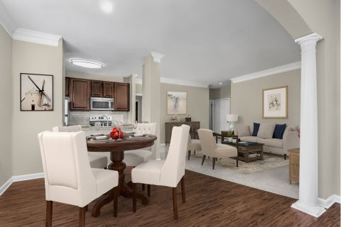 Dining and Living Room at Camden Ballantyne Apartments in Charlotte, NC