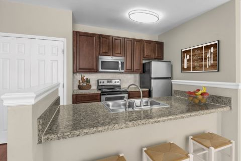 Kitchen with Island at Camden Ballantyne Apartments in Charlotte, NC