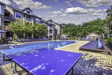 Ping Pong table at Pool at Camden Ballantyne Apartments in Charlotte, NC