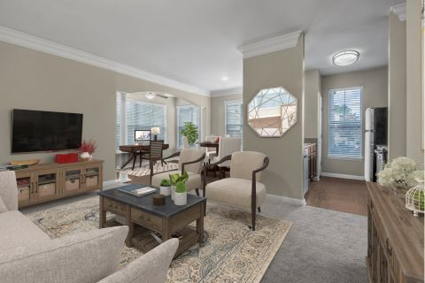 Living and Dining Room with Flex Space to Work From Home at Camden Ballantyne Apartments in Charlotte, NC