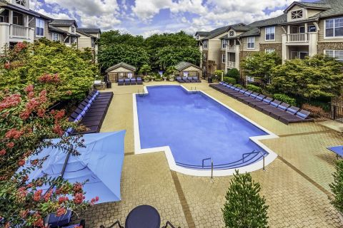 Swimming Pool Area at Camden Ballantyne Apartments in Charlotte, NC
