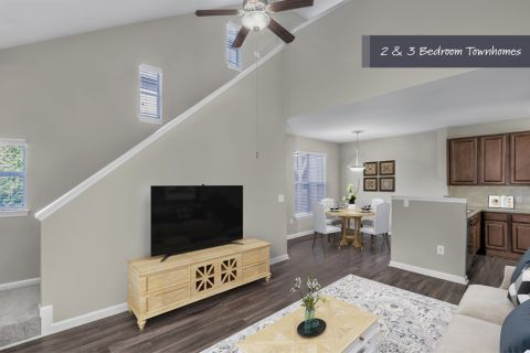Townhome Living Room at Camden Ballantyne Apartments in Charlotte, NC