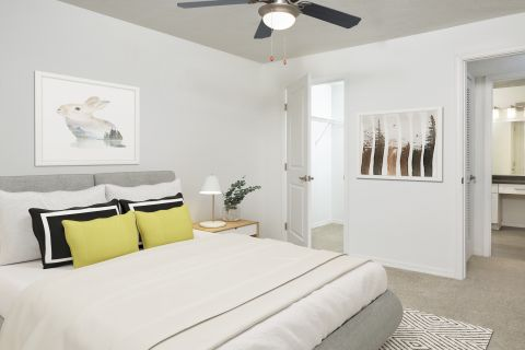 Bedroom with Modern Finishes at Camden Bay Apartments in Tampa, FL