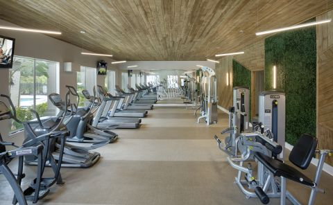 Fitness center at Camden Bay Apartments in Tampa, FL