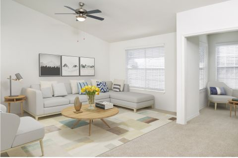 Living Room with Modern Finishes at Camden Bay Apartments in Tampa, FL