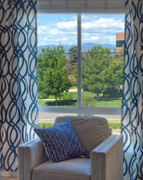 Mountain views at Camden Belleview Station Apartments in Denver, CO
