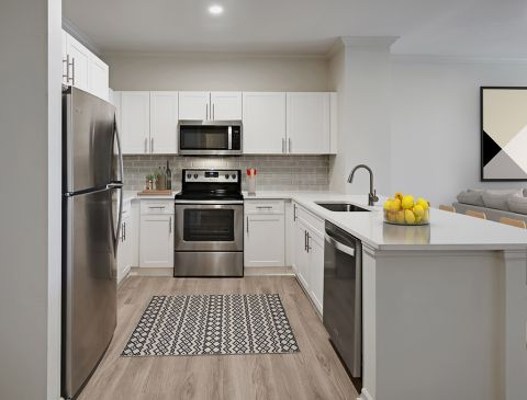 Kitchen with modern finishes and quartz countertops at Camden Belleview Station Apartments in Denver, CO