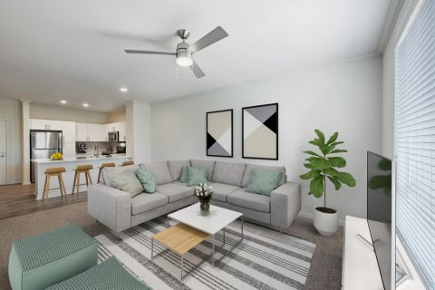 Living Room with modern finishes at Camden Belleview Station Apartments in Denver, CO