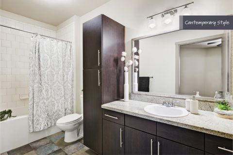 Contemporary Style Bathroom at Camden Belmont Apartments in Dallas, TX