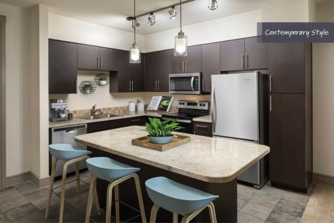 Contemporary Style Kitchen with Stainless Steel Appliances at Camden Belmont Apartments in Dallas, TX