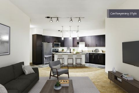 Contemporary Style Living Room at Camden Belmont Apartments in Dallas, TX