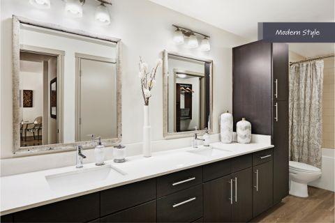 Modern Style Bathroom at Camden Belmont Apartments in Dallas, TX