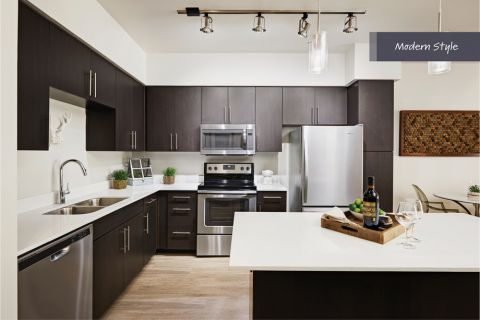 Modern Style Kitchen with Stainless Steel Appliances at Camden Belmont Apartments in Dallas, TX