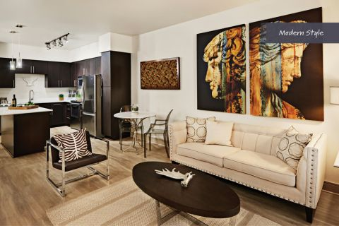 Modern Style Living Room and Kitchen at Camden Belmont Apartments in Dallas, TX